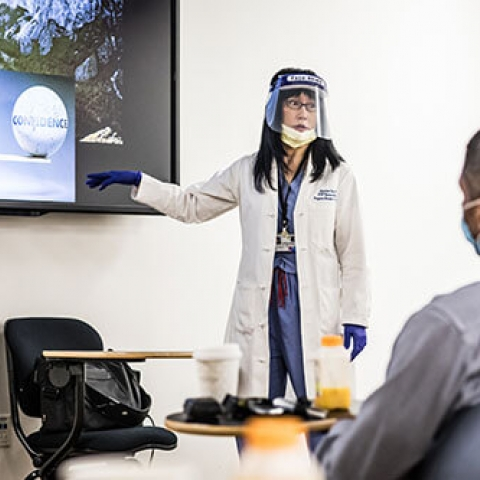 Resident and Fellow Orientation, July 1, 2020: While observing UCSF safety protocols, Dr. Soonmee Cha presents to new residents on their first day in the department.