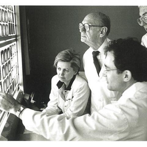 (l-r) Drs. Hedvig Hricak, MD, PhD, Alexander R. Margulis, MD (Chair from 1963-1989), David Norman, MD and Charles Higgins, MD.