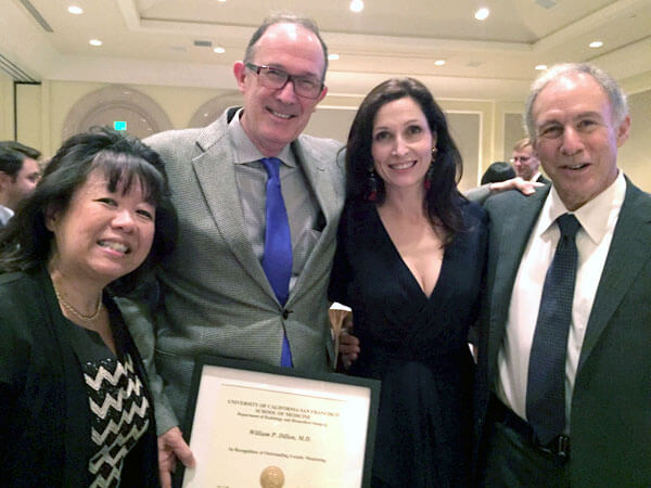 Dr. Bill Dillon receiving his award from Dr. Ron Arenson and Dr. Christine Glastonbury, with 2015 recipient Dr. Judy Yee.